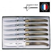 Coffret  6 couteaux manche corne blonde Laguiole G.DAVID