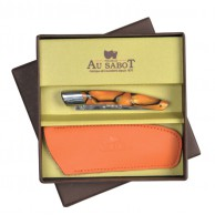 Coffret cadeau comprenant 1 Couteau Le THIERS  AU SABOT manche décoration orange torsade et 1 étui en cuir orange