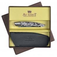 Coffret cadeau comprenant 1 Couteau Le THIERS  AU SABOT manche décoration japonisant et 1 étui en cuir noir