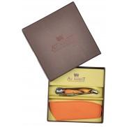 Coffret Couteau Laguiole AU SABOT manche décoration orange torsade et étui cuir orange