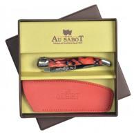 Coffret Couteau Laguiole AU SABOT manche décoration rouge torsade et étui cuir rouge