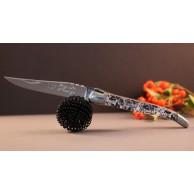 Coffret Couteau Laguiole AU SABOT manche décoration japonisant et étui cuir noir