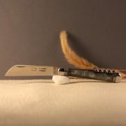 Couteau le tonneau 2 pièces Manche corne lame carbone et tire-bouchon AU SABOT