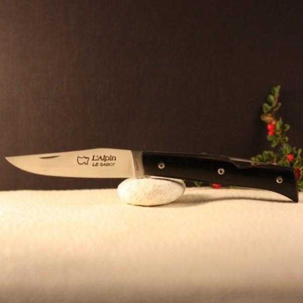 Couteau L'Alpin sécurisé manche ébène AU SABOT