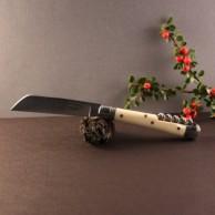 Couteau le tonneau 2 pièces Manche ivoirine lame carbone et tire-bouchon AU SABOT