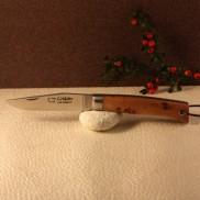 Couteau L'Alpin manche Genévrier avec lien ressort guilloché main, en plumier  AU SABOT