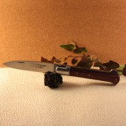 Couteau Yssingeaux manche bois de violette AU SABOT  Mitre en inox. Ressort forgé guilloché main.