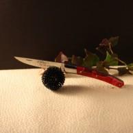 Couteau Le THIERS  AU SABOT manche décoration rouge torsade