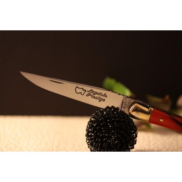 Couteau Laguiole  AU SABOT manche décoration rouge torsade
