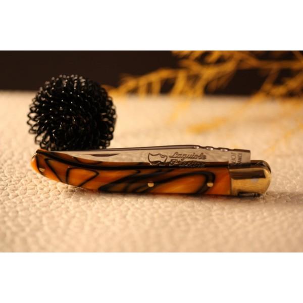 Couteau Laguiole AU SABOT manche décoration orange torsade