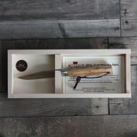 Couteau L'Alpin manche olivier avec lien ressort guilloché main, en plumier  AU SABOT