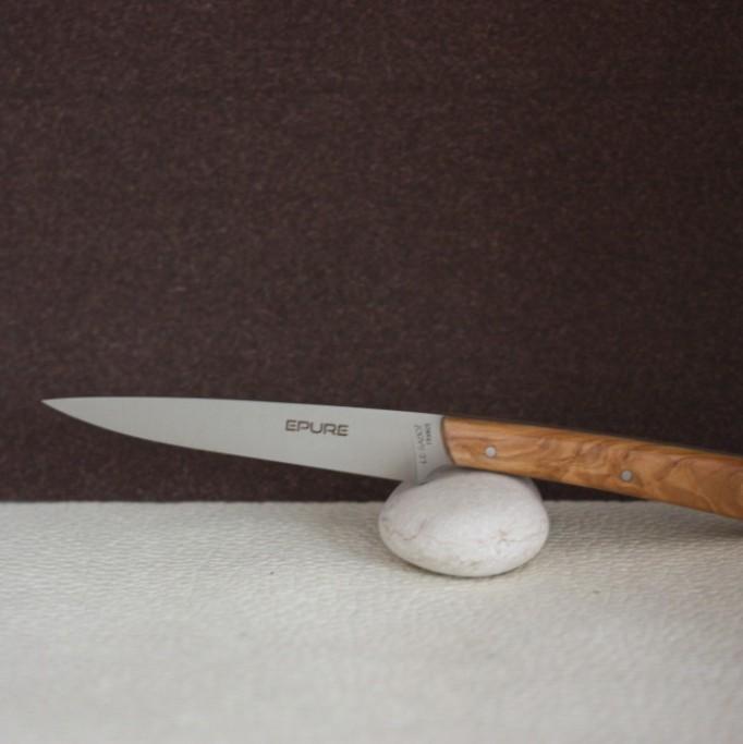 coffret 6 couteaux de table epure manche olivier au sabot. Black Bedroom Furniture Sets. Home Design Ideas