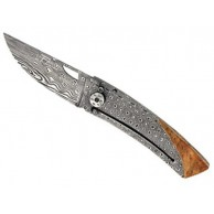 Couteau Le Thiers GILLES®, lame damas intégral inox 120 couches à trou et à cran intérieur genévrier, finition «vagues»