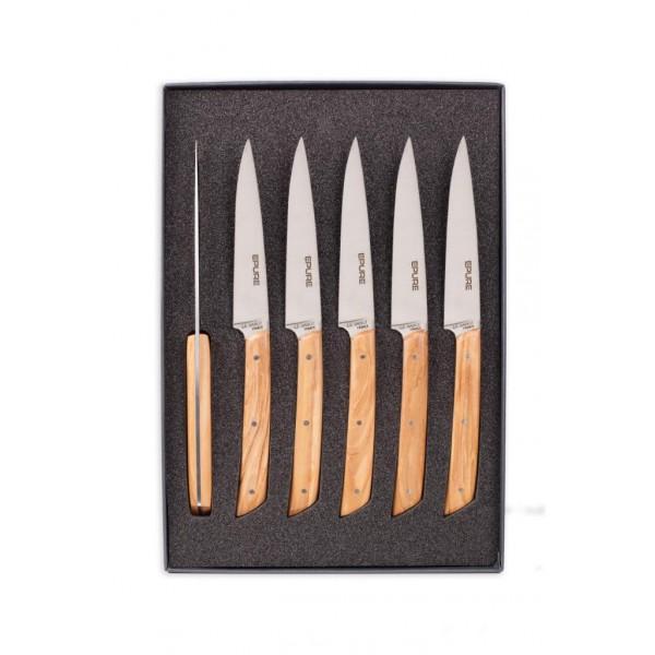 Coffret 6 couteaux de table Epure manche Olivier AU SABOT