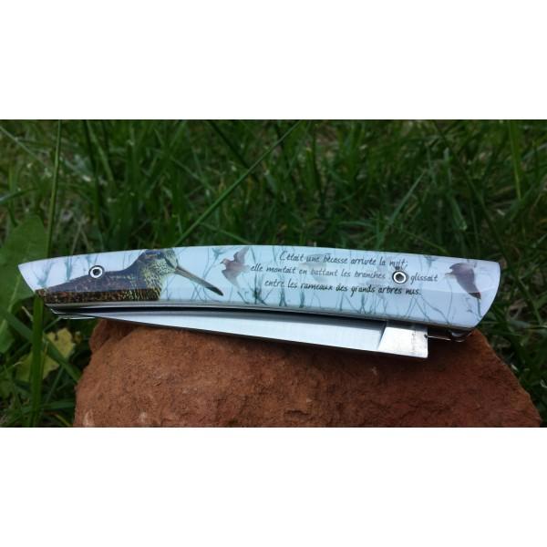 Couteau LE THIERS LOUIS CAU LE POTE manche en résine avec incrustation d'une plume de bécasse